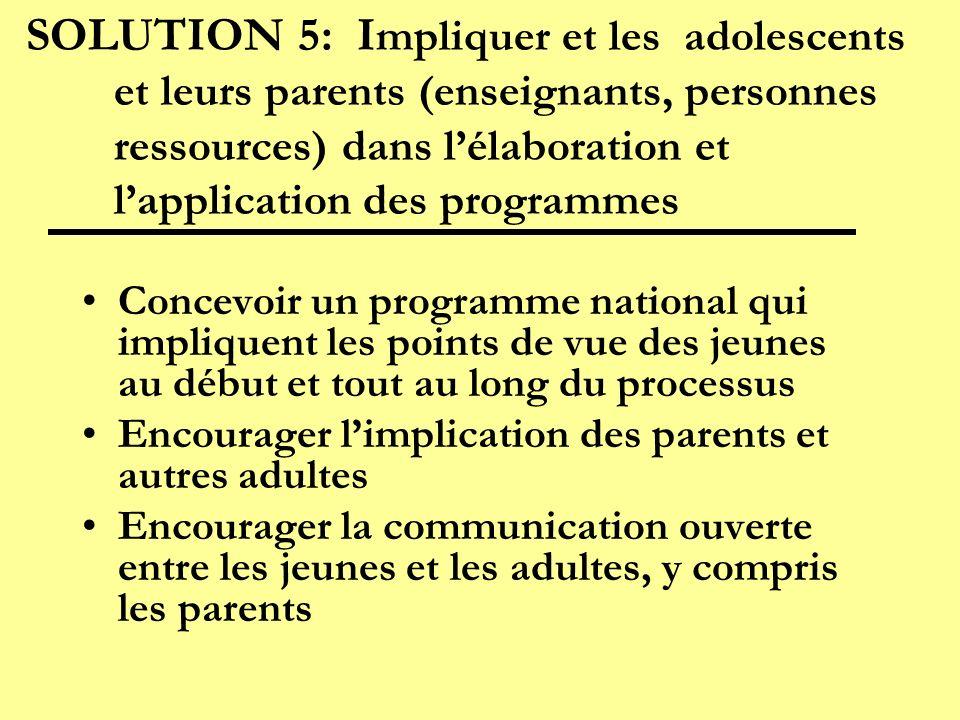 SOLUTION 5: I mpliquer et les adolescents et leurs parents (enseignants, personnes ressources) dans lélaboration et lapplication des programmes Concev