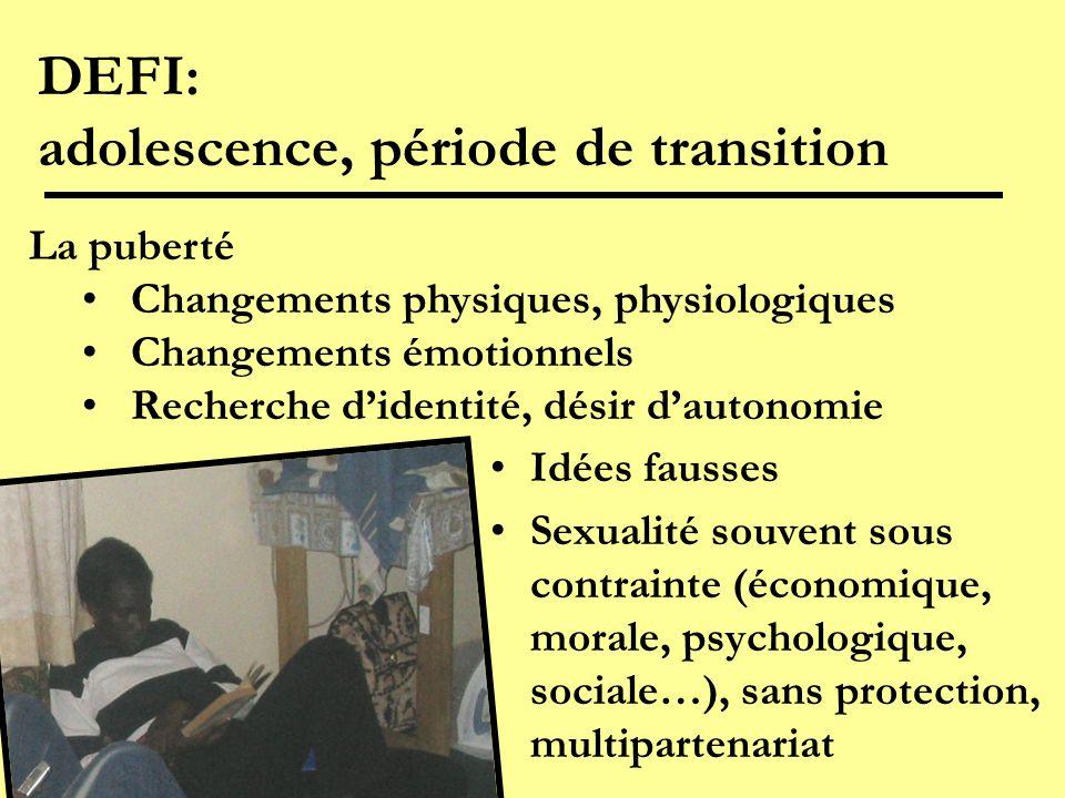 DEFI: adolescence, période de transition Idées fausses Sexualité souvent sous contrainte (économique, morale, psychologique, sociale…), sans protectio