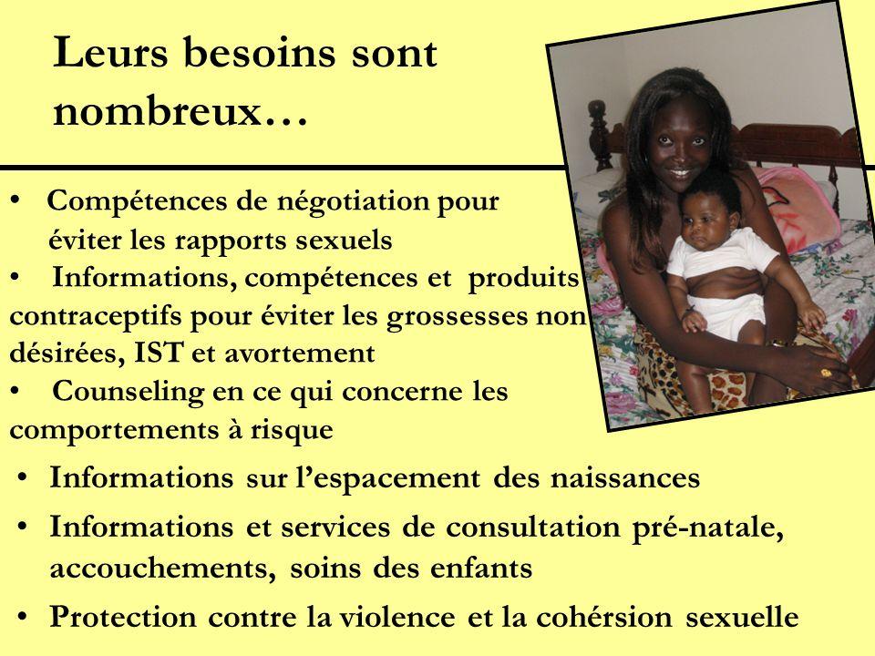Leurs besoins sont nombreux… Informations sur lespacement des naissances Informations et services de consultation pré-natale, accouchements, soins des