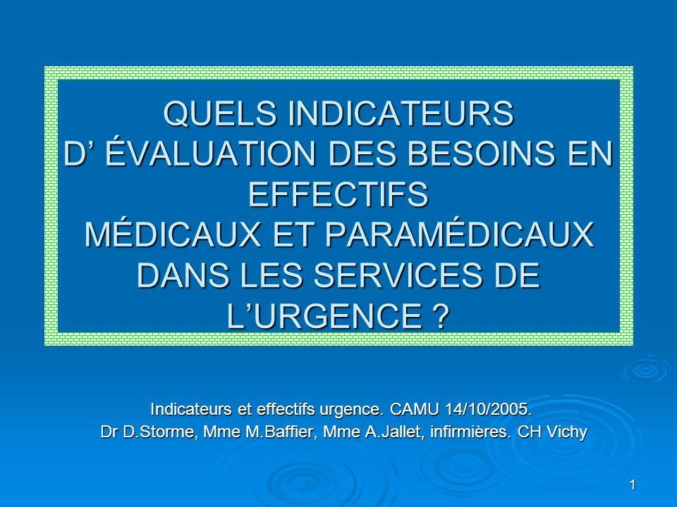 1 QUELS INDICATEURS D ÉVALUATION DES BESOINS EN EFFECTIFS MÉDICAUX ET PARAMÉDICAUX DANS LES SERVICES DE LURGENCE ? Indicateurs et effectifs urgence. C