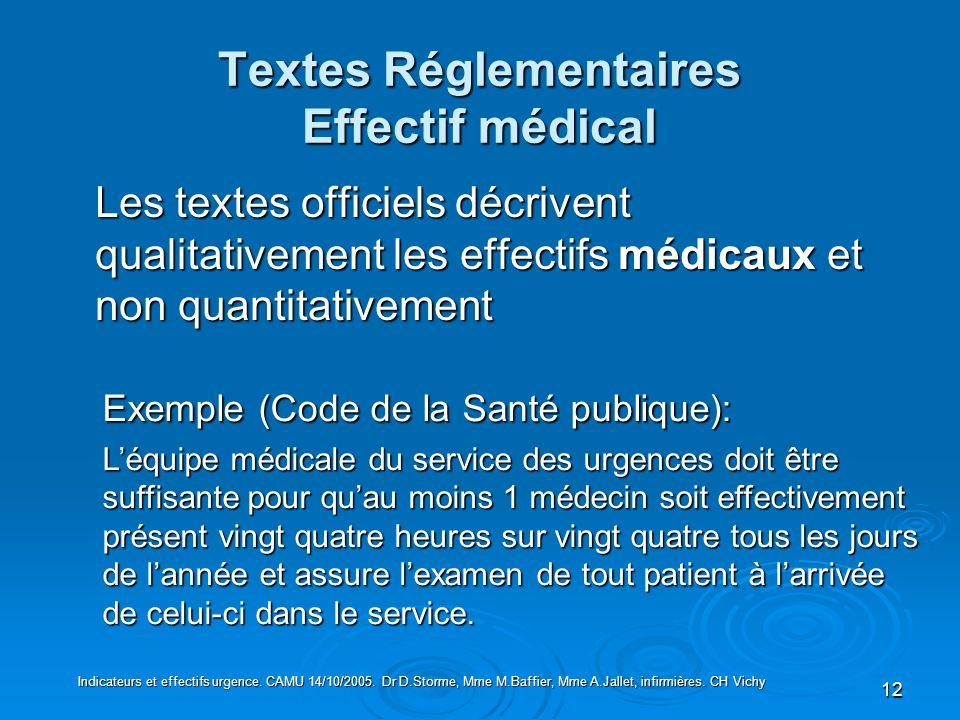 12 Textes Réglementaires Effectif médical Les textes officiels décrivent qualitativement les effectifs médicaux et non quantitativement Exemple (Code