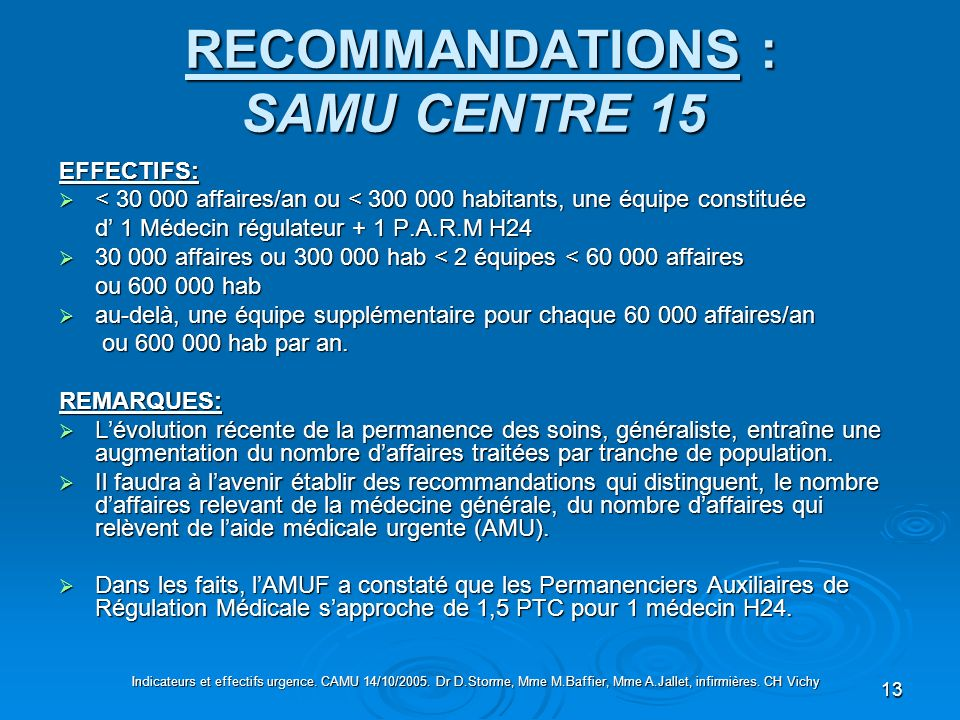 13 RECOMMANDATIONS : SAMU CENTRE 15 RECOMMANDATIONS : SAMU CENTRE 15 EFFECTIFS: < 30 000 affaires/an ou < 300 000 habitants, une équipe constituée < 3