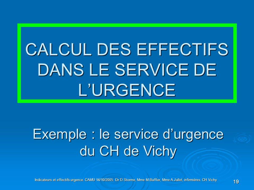 19 CALCUL DES EFFECTIFS DANS LE SERVICE DE LURGENCE Indicateurs et effectifs urgence. CAMU 14/10/2005. Dr D.Storme, Mme M.Baffier, Mme A.Jallet, infir
