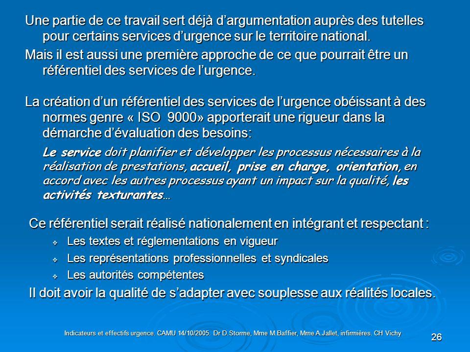 26 La création dun référentiel des services de lurgence obéissant à des normes genre « ISO 9000» apporterait une rigueur dans la démarche dévaluation