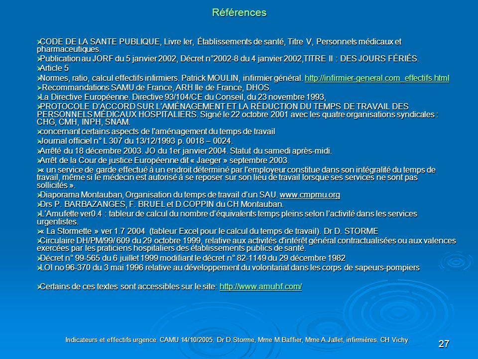 27 Références Indicateurs et effectifs urgence. CAMU 14/10/2005. Dr D.Storme, Mme M.Baffier, Mme A.Jallet, infirmières. CH Vichy CODE DE LA SANTE PUBL