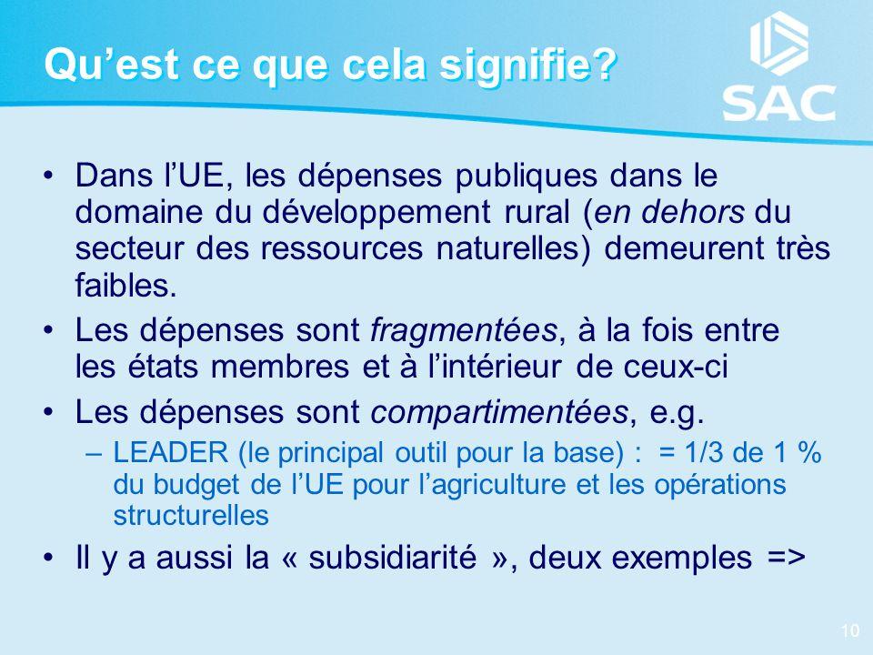 10 Quest ce que cela signifie? Dans lUE, les dépenses publiques dans le domaine du développement rural (en dehors du secteur des ressources naturelles