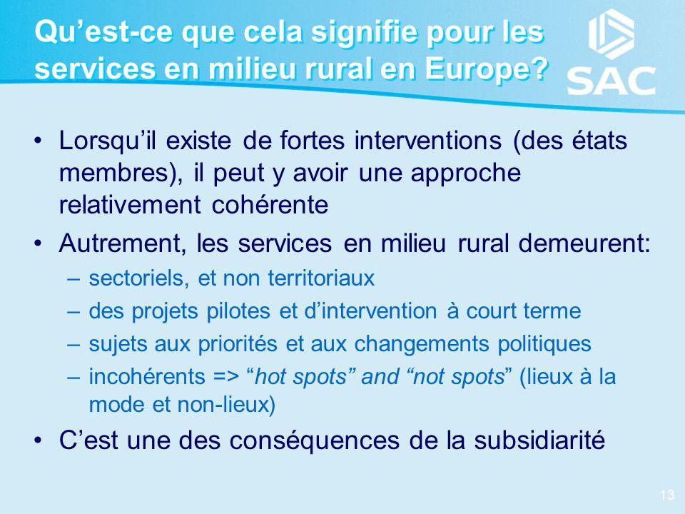 13 Quest-ce que cela signifie pour les services en milieu rural en Europe? Lorsquil existe de fortes interventions (des états membres), il peut y avoi