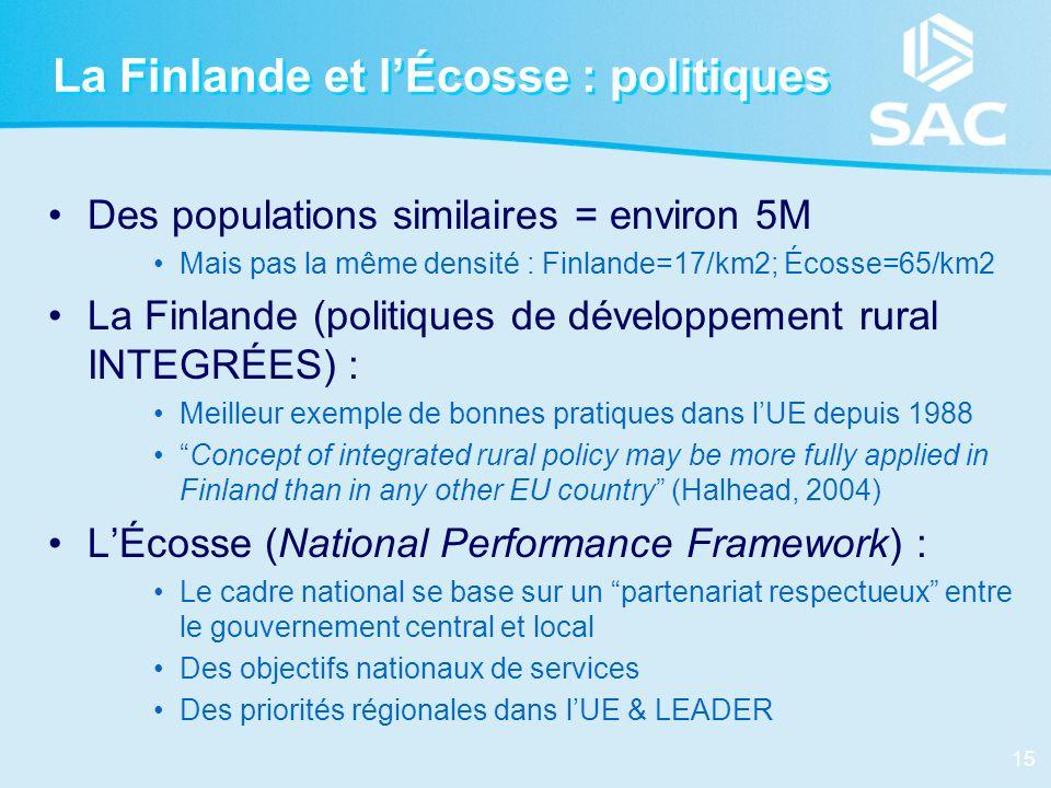 15 La Finlande et lÉcosse : politiques Des populations similaires = environ 5M Mais pas la même densité : Finlande=17/km2; Écosse=65/km2 La Finlande (