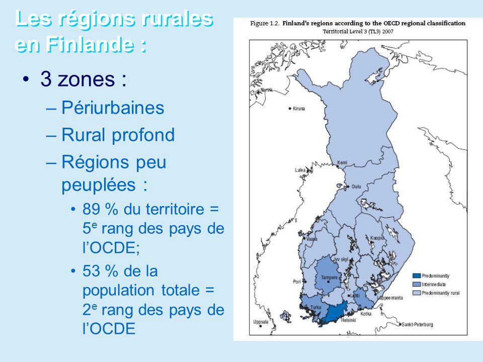 Les régions rurales en Finlande : 3 zones : –Périurbaines –Rural profond –Régions peu peuplées : 89 % du territoire = 5 e rang des pays de lOCDE; 53 %