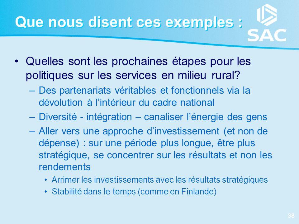 38 Que nous disent ces exemples : Quelles sont les prochaines étapes pour les politiques sur les services en milieu rural? –Des partenariats véritable