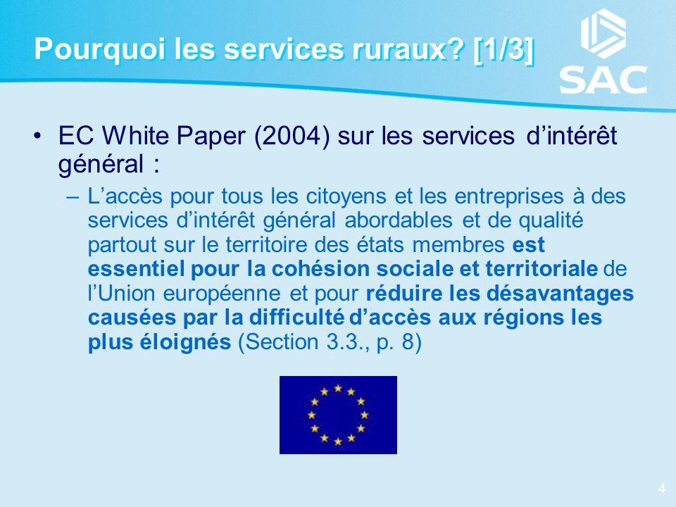 4 Pourquoi les services ruraux? [1/3] EC White Paper (2004) sur les services dintérêt général : –Laccès pour tous les citoyens et les entreprises à de
