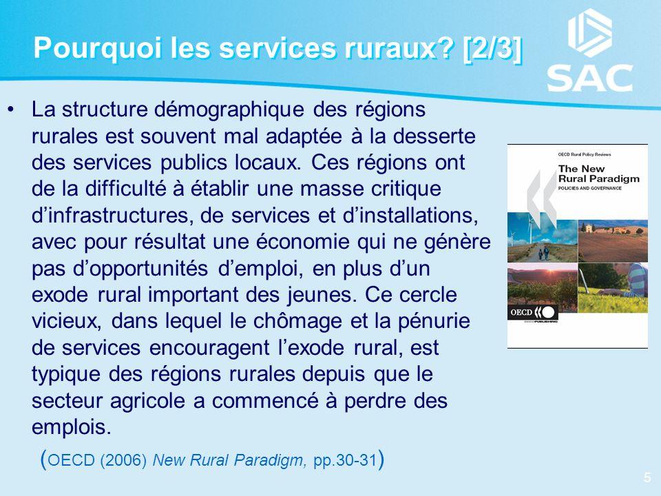 5 Pourquoi les services ruraux? [2/3] La structure démographique des régions rurales est souvent mal adaptée à la desserte des services publics locaux