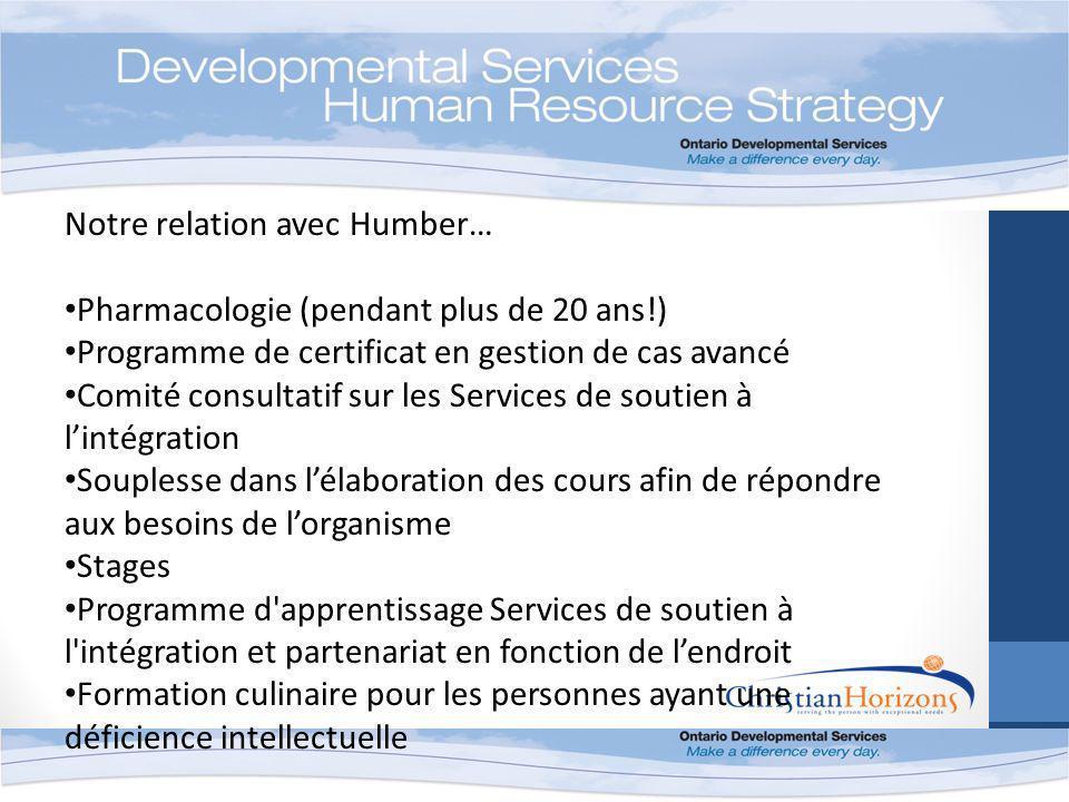 Notre relation avec Humber… Pharmacologie (pendant plus de 20 ans!) Programme de certificat en gestion de cas avancé Comité consultatif sur les Servic