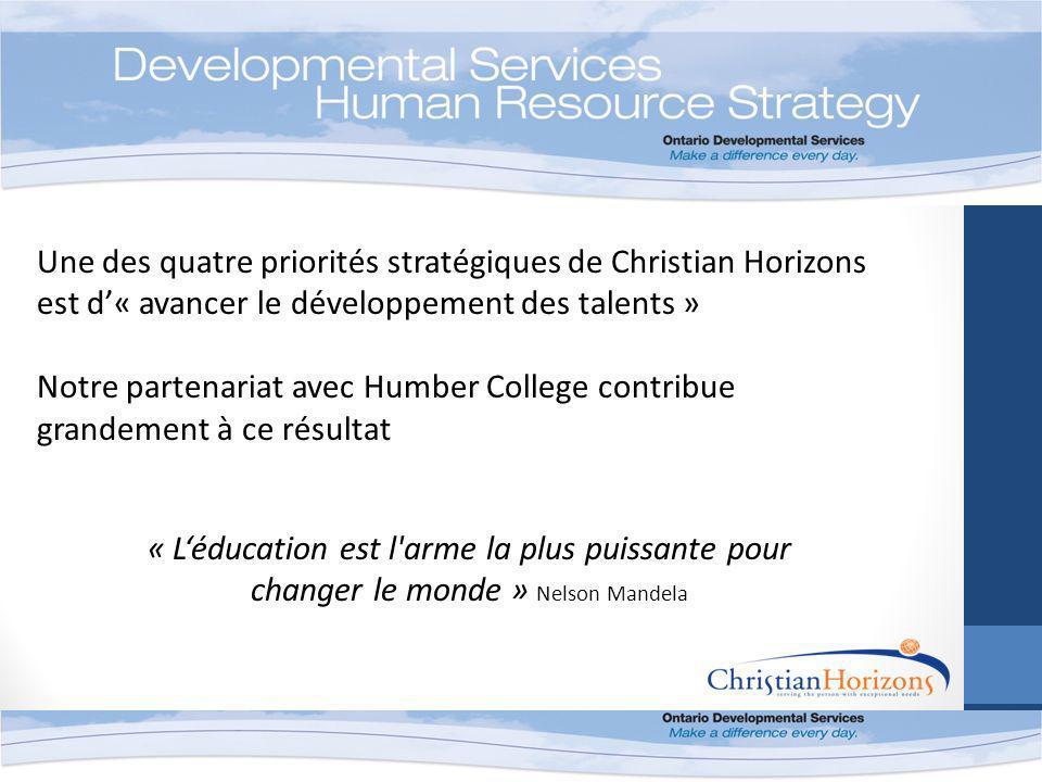 « Léducation est l arme la plus puissante pour changer le monde » Nelson Mandela Une des quatre priorités stratégiques de Christian Horizons est d« avancer le développement des talents » Notre partenariat avec Humber College contribue grandement à ce résultat