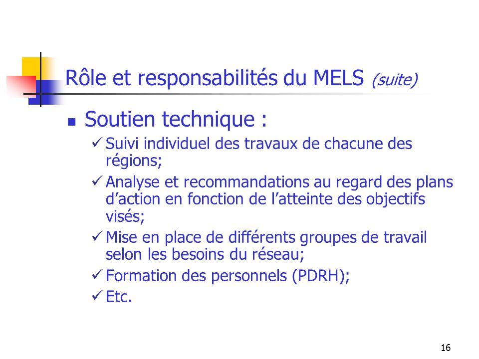 16 Rôle et responsabilités du MELS (suite) Soutien technique : Suivi individuel des travaux de chacune des régions; Analyse et recommandations au regard des plans daction en fonction de latteinte des objectifs visés; Mise en place de différents groupes de travail selon les besoins du réseau; Formation des personnels (PDRH); Etc.