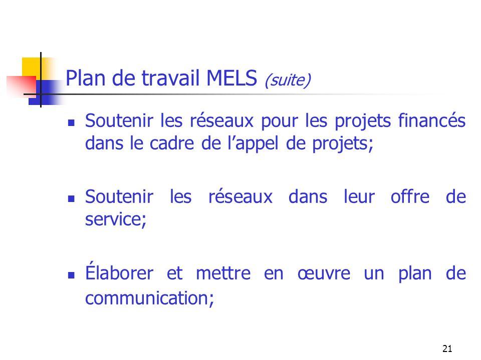 21 Plan de travail MELS (suite) Soutenir les réseaux pour les projets financés dans le cadre de lappel de projets; Soutenir les réseaux dans leur offre de service; Élaborer et mettre en œuvre un plan de communication;