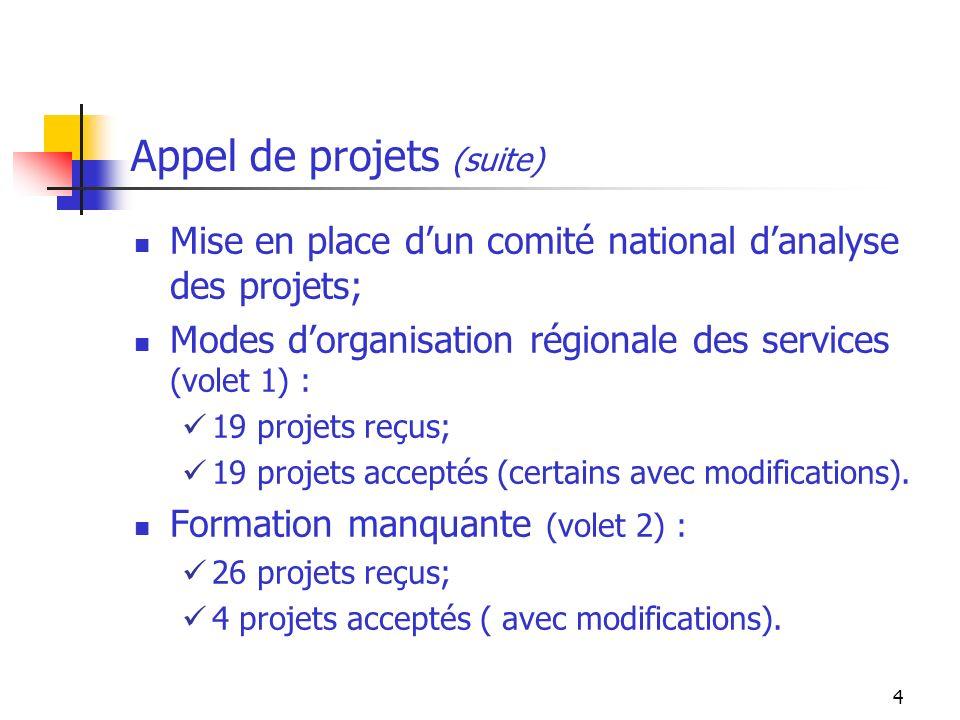 4 Appel de projets (suite) Mise en place dun comité national danalyse des projets; Modes dorganisation régionale des services (volet 1) : 19 projets reçus; 19 projets acceptés (certains avec modifications).