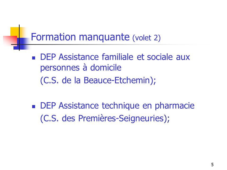 6 Formation manquante (suite) DEC Techniques de comptabilité et de gestion (Cégep à distance); DEC en Techniques de linformatique (Cégep Limoilou).