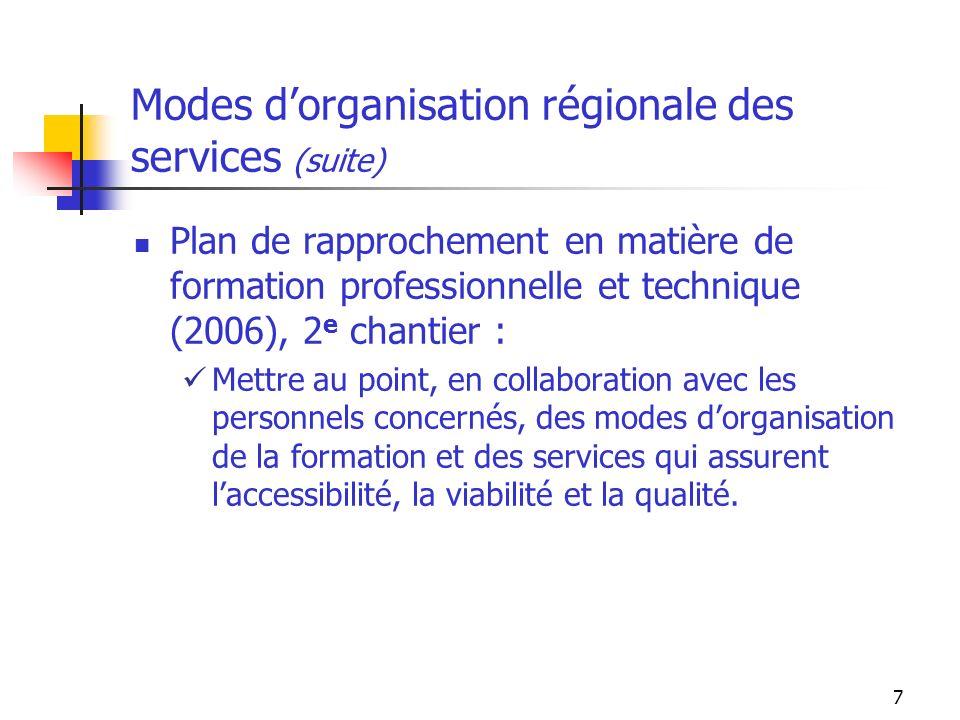 7 Modes dorganisation régionale des services (suite) Plan de rapprochement en matière de formation professionnelle et technique (2006), 2 e chantier : Mettre au point, en collaboration avec les personnels concernés, des modes dorganisation de la formation et des services qui assurent laccessibilité, la viabilité et la qualité.