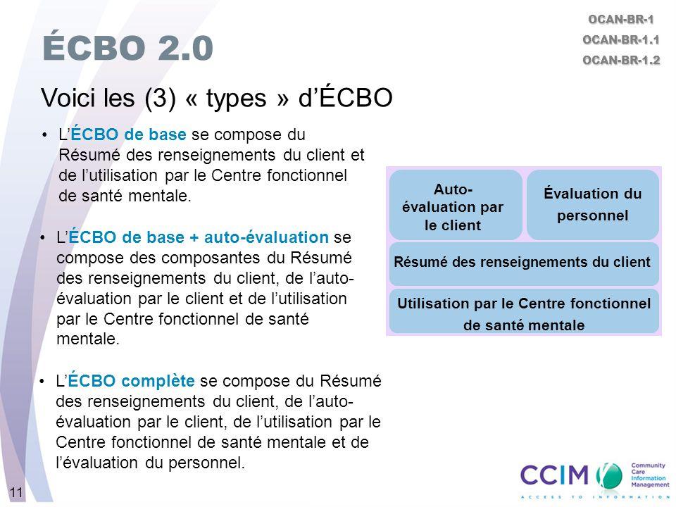 11 ÉCBO 2.0 Voici les (3) « types » dÉCBO LÉCBO de base se compose du Résumé des renseignements du client et de lutilisation par le Centre fonctionnel