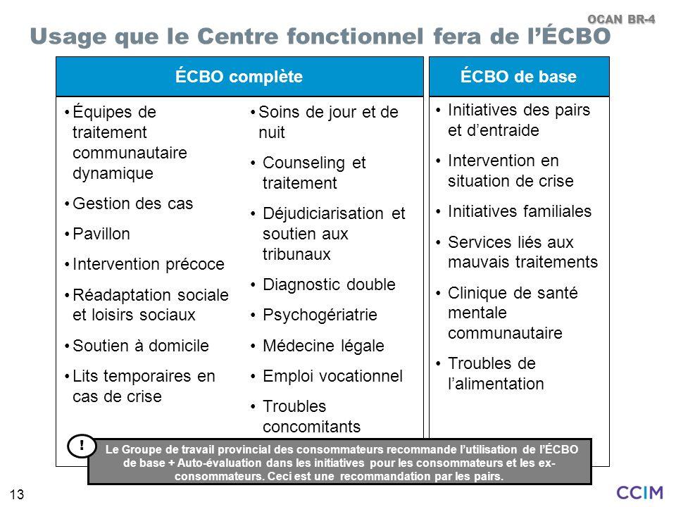 13 ÉCBO complèteÉCBO de base Équipes de traitement communautaire dynamique Gestion des cas Pavillon Intervention précoce Réadaptation sociale et loisi