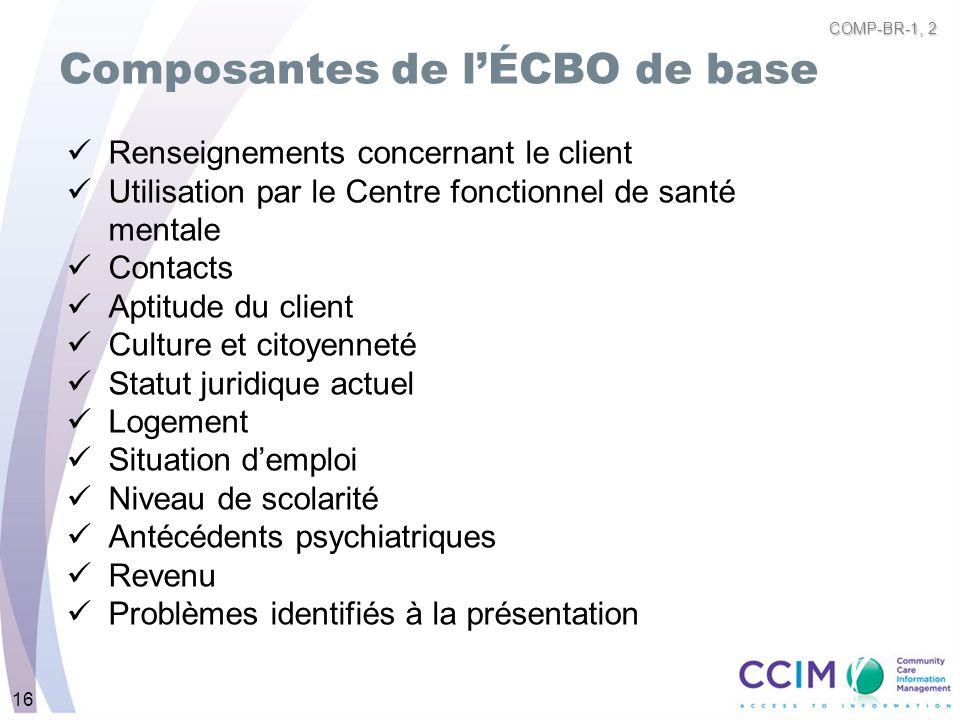 16 Composantes de lÉCBO de base Renseignements concernant le client Utilisation par le Centre fonctionnel de santé mentale Contacts Aptitude du client