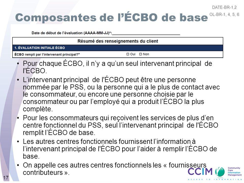17 Composantes de lÉCBO de base Pour chaque ÉCBO, il ny a quun seul intervenant principal de l'ÉCBO. Lintervenant principal de l'ÉCBO peut être une pe