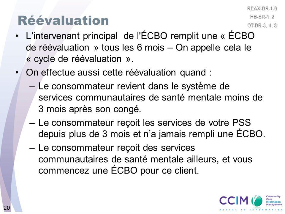 20 Réévaluation Lintervenant principal de l'ÉCBO remplit une « ÉCBO de réévaluation » tous les 6 mois – On appelle cela le « cycle de réévaluation ».