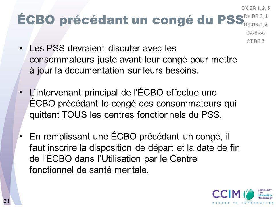 21 ÉCBO précédant un congé du PSS 21 Les PSS devraient discuter avec les consommateurs juste avant leur congé pour mettre à jour la documentation sur
