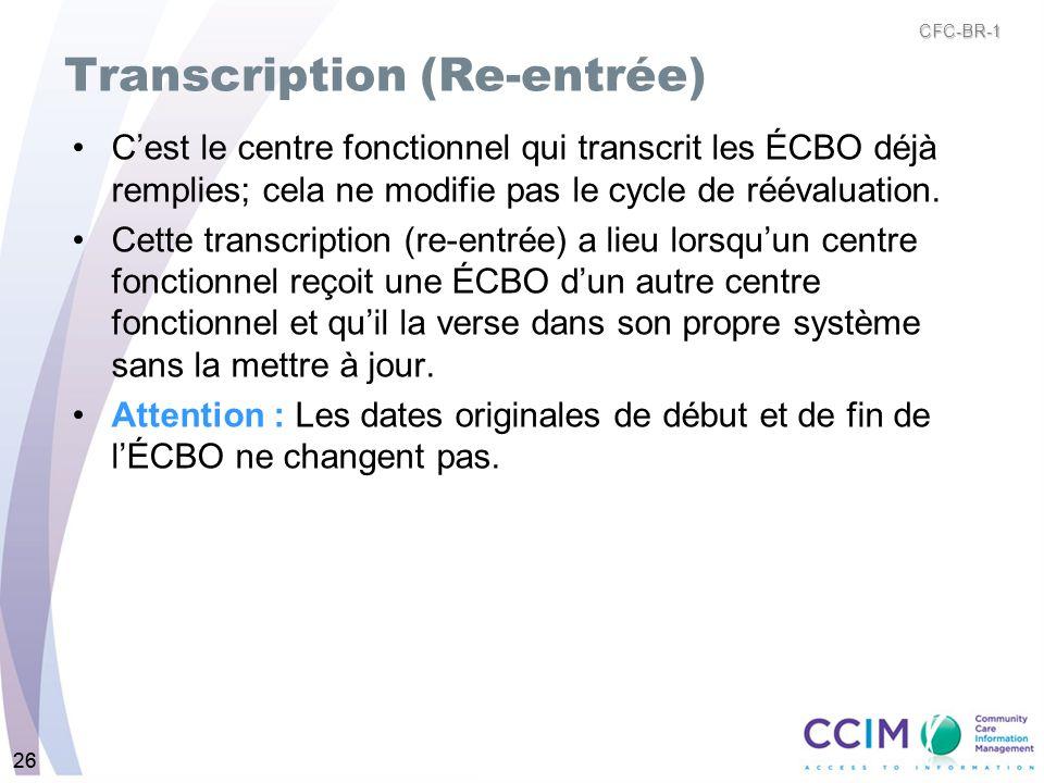 26 Transcription (Re-entrée) Cest le centre fonctionnel qui transcrit les ÉCBO déjà remplies; cela ne modifie pas le cycle de réévaluation. Cette tran