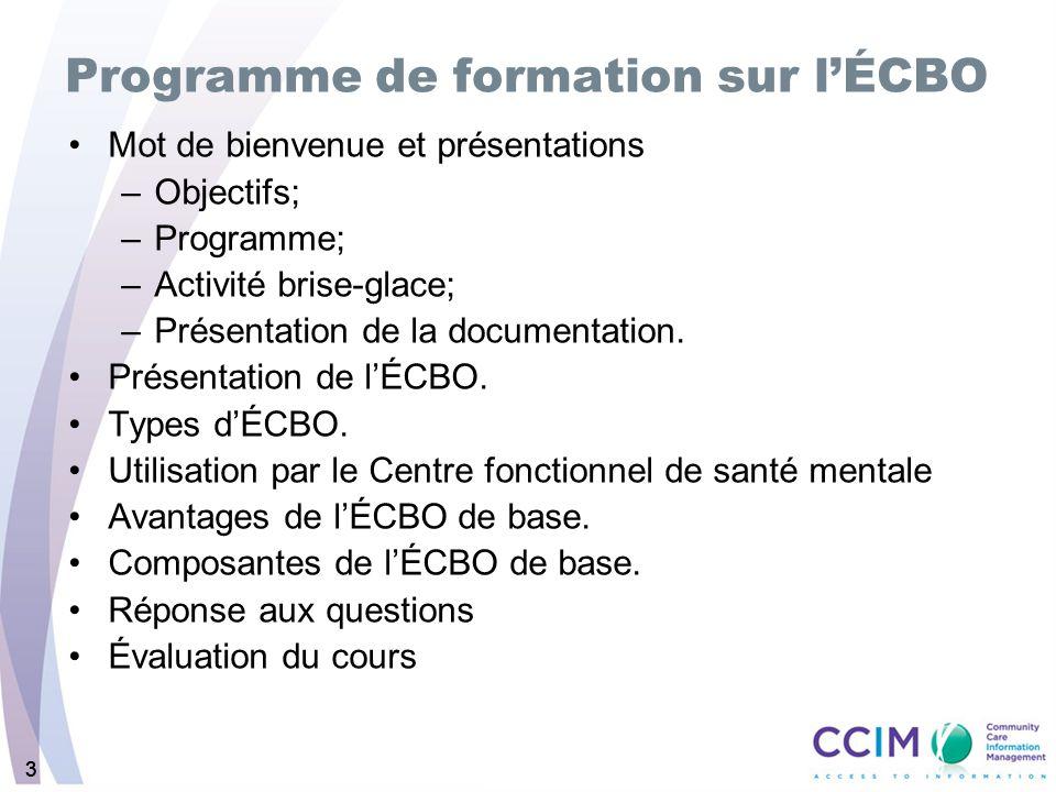 333 Programme de formation sur lÉCBO Mot de bienvenue et présentations –Objectifs; –Programme; –Activité brise-glace; –Présentation de la documentatio