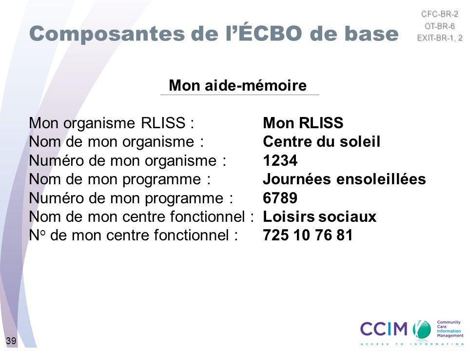 39 Composantes de lÉCBO de base Mon aide-mémoire Mon organisme RLISS : Mon RLISS Nom de mon organisme : Centre du soleil Numéro de mon organisme : 123