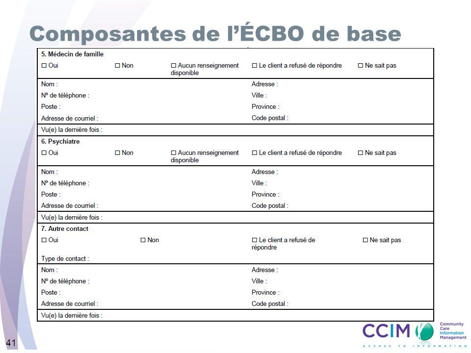 41 Composantes de lÉCBO de base