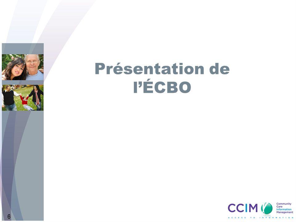 17 Composantes de lÉCBO de base Pour chaque ÉCBO, il ny a quun seul intervenant principal de l ÉCBO.