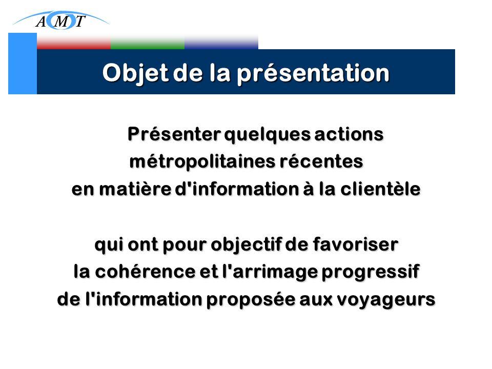 Objet de la présentation Présenter quelques actions métropolitaines récentes en matière d information à la clientèle qui ont pour objectif de favoriser la cohérence et l arrimage progressif de l information proposée aux voyageurs