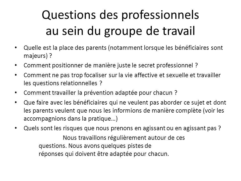 Questions des professionnels au sein du groupe de travail Quelle est la place des parents (notamment lorsque les bénéficiaires sont majeurs) ? Comment