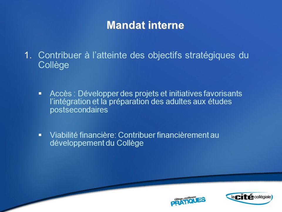 Mandat interne 1.Contribuer à latteinte des objectifs stratégiques du Collège Accès : Développer des projets et initiatives favorisants lintégration e