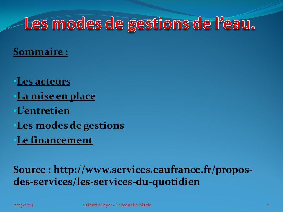 Sommaire : Les acteurs La mise en place Lentretien Les modes de gestions Le financement Source : http://www.services.eaufrance.fr/propos- des-services