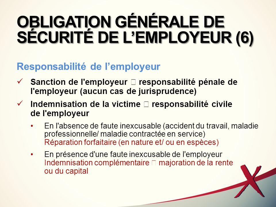 OBLIGATION GÉNÉRALE DE SÉCURITÉ DE LEMPLOYEUR (6) Responsabilité de lemployeur Sanction de l'employeur responsabilité pénale de l'employeur (aucun cas