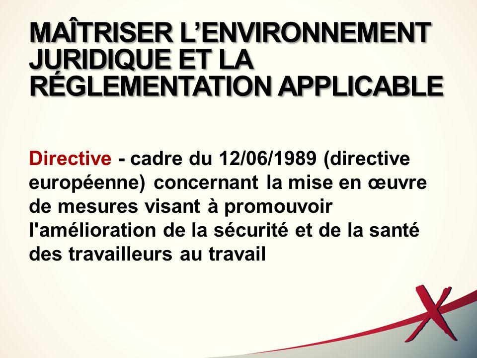 MAÎTRISER LENVIRONNEMENT JURIDIQUE ET LA RÉGLEMENTATION APPLICABLE Directive - cadre du 12/06/1989 (directive européenne) concernant la mise en œuvre