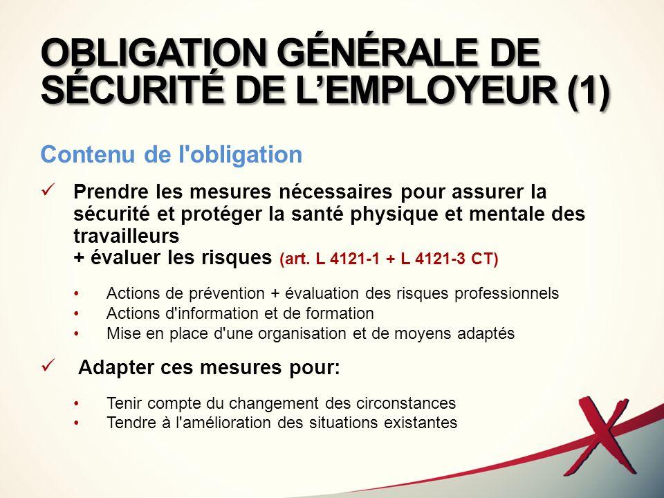 OBLIGATION GÉNÉRALE DE SÉCURITÉ DE LEMPLOYEUR (2) Portée de lobligation de lemployeur Obligation de sécurité de résultat consacrée par la jurisprudence Pour les maladies professionnelles (C.