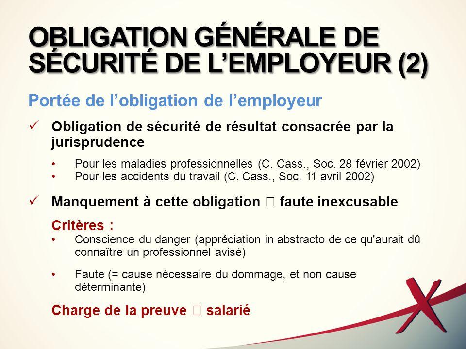 OBLIGATION GÉNÉRALE DE SÉCURITÉ DE LEMPLOYEUR (2) Portée de lobligation de lemployeur Obligation de sécurité de résultat consacrée par la jurisprudenc