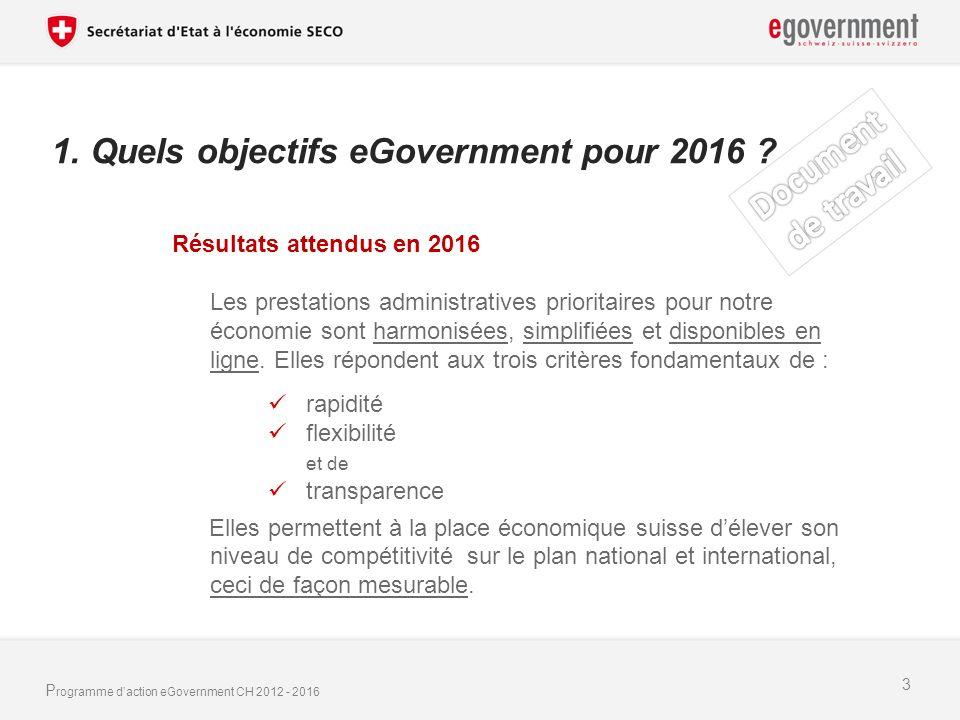 P rogramme daction eGovernment CH 2012 - 2016 1.Quels objectifs eGovernment pour 2016 .