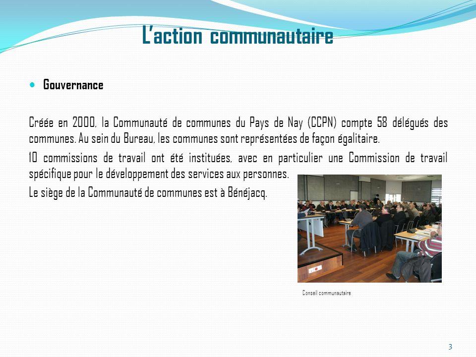Laction communautaire Gouvernance Créée en 2000, la Communauté de communes du Pays de Nay (CCPN) compte 58 délégués des communes. Au sein du Bureau, l