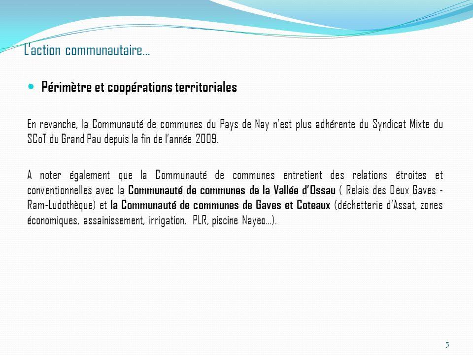 Laction communautaire… Périmètre et coopérations territoriales En revanche, la Communauté de communes du Pays de Nay nest plus adhérente du Syndicat M