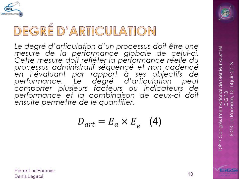 10 ème Congrès International de Génie Industriel CIGI13 EIGSI La Rochelle, 12-14 juin 2013 Le degré darticulation dun processus doit être une mesure de la performance globale de celui-ci.