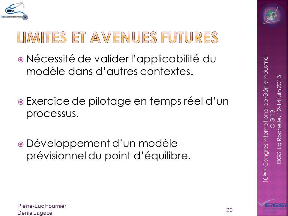 10 ème Congrès International de Génie Industriel CIGI13 EIGSI La Rochelle, 12-14 juin 2013 Nécessité de valider lapplicabilité du modèle dans dautres contextes.