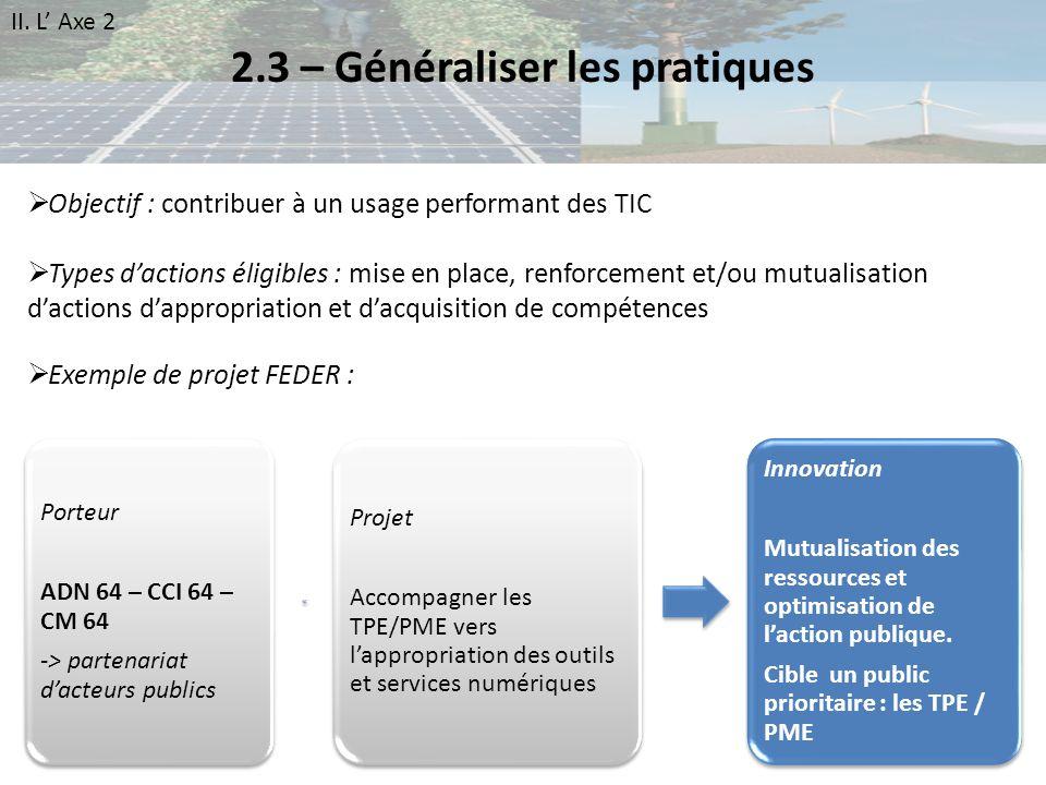 2.3 – Généraliser les pratiques Porteur ADN 64 – CCI 64 – CM 64 -> partenariat dacteurs publics Projet Accompagner les TPE/PME vers lappropriation des