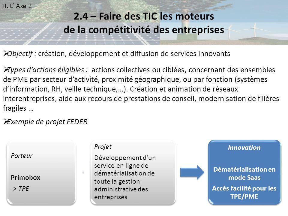 2.4 – Faire des TIC les moteurs de la compétitivité des entreprises Objectif : création, développement et diffusion de services innovants Types dactio