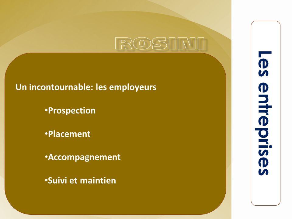 Un incontournable: les employeurs Prospection Placement Accompagnement Suivi et maintien Les entreprises